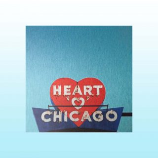 Heart Chicago Sign – Mini Metal Print